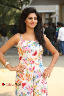 Actress Shamili Stills in Floral Short Dress at Sree Ramaraksha Song Launch 0019