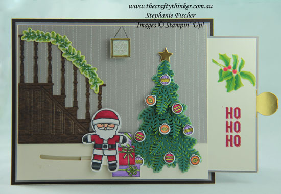 #thecraftythinker #stampinup  #cardmaking  #christmascard #funfold #slidercard , Christmas card, Slider Card, Fun Fold, Ready for Christmas, Cookie Cutter Christmas, Stampin' Up Australia Demonstrator, Stephanie Fischer, Sydney NSW