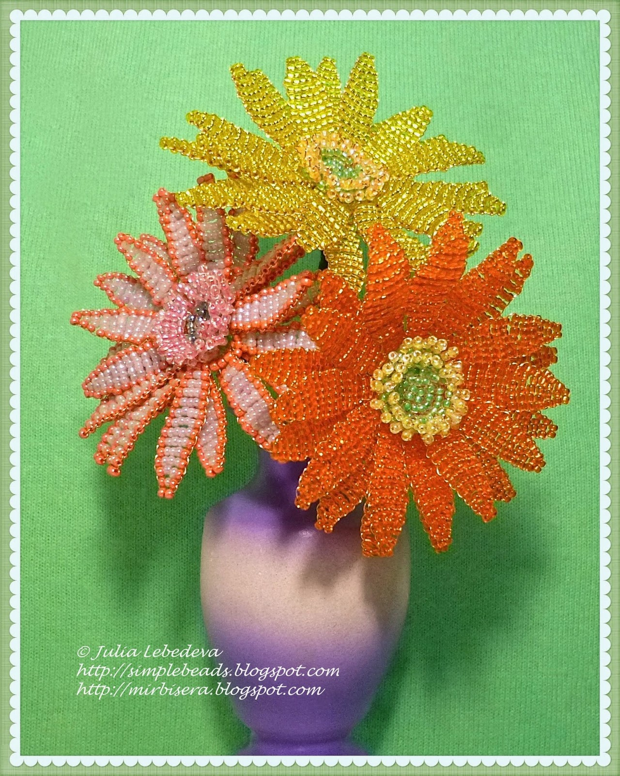 Beaded Gerbera flowers