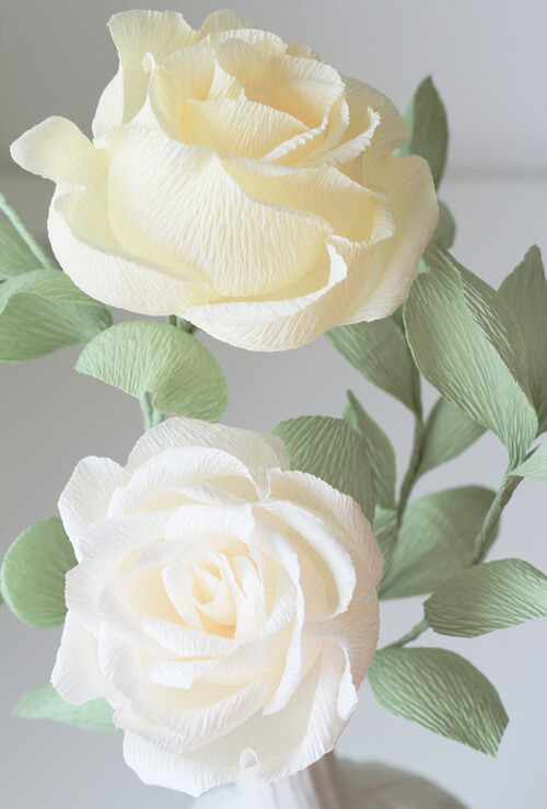 two ivory crepe paper roses with green leaves