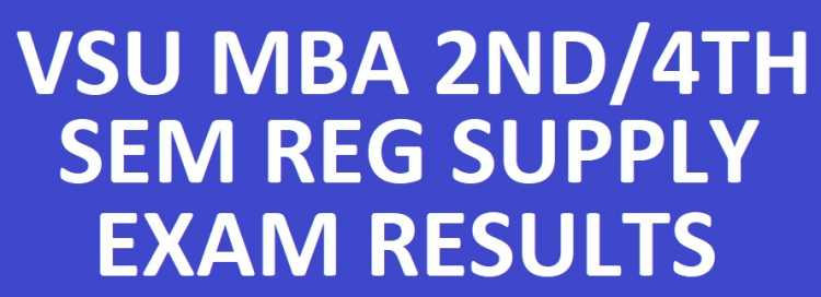VSU MBA 2nd/4th Sem Reg Supply Results