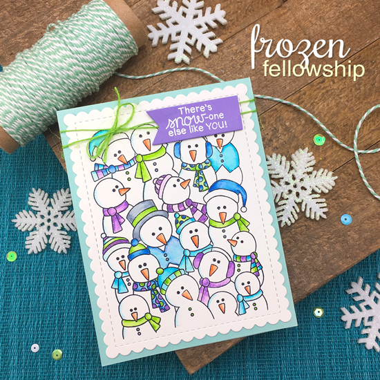 Snowmen card by Jennifer Jackson | Frozen Fellowship Stamp Set by Newton's Nook Designs #newtonsnook #handmade