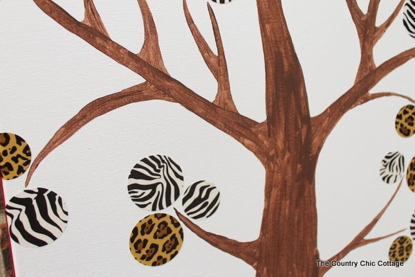DIY Modern Tree Art -- make your own modern wall art with a few supplies!  A great safari themed way to liven up any room!