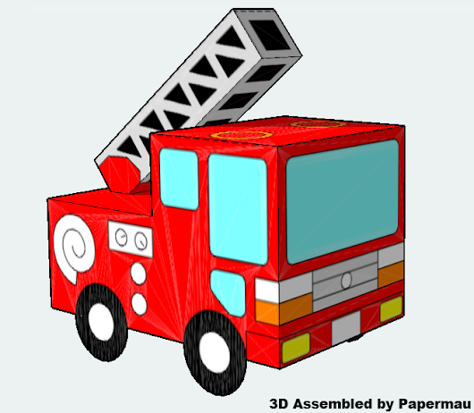 Easy-To-Build Fire Truck Paper Model For Kids - by Craft Pan