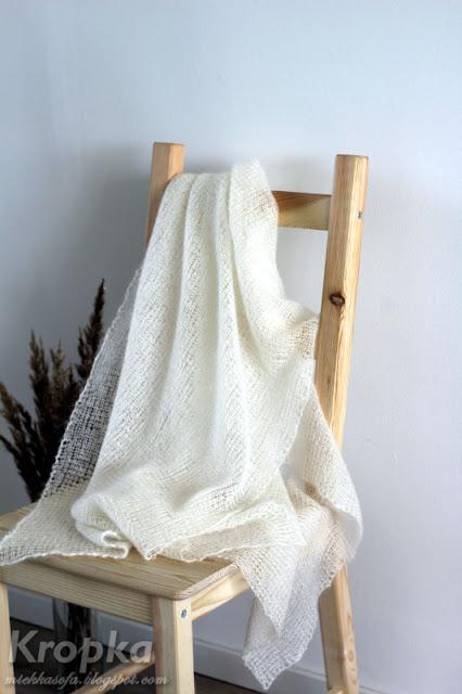 Prostokątny szal ślubny wydziergany ręcznie na drutach z moherowej włóczki