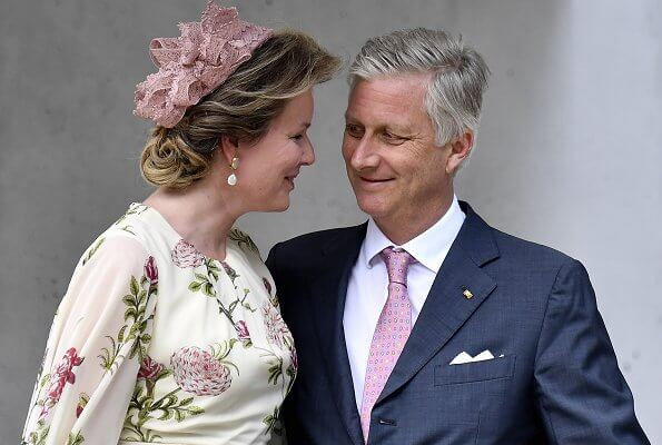 60th birthday of King Philippe. Queen Mathilde wore a floral print silk dress by Giambattista Valli. Princess Elisabeth