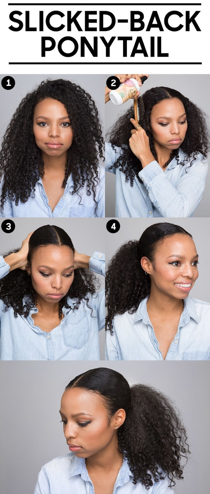 Slicked-back Ponytail for curly hair