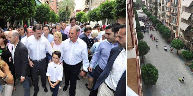 El baño de masas de Rajoy o manipulación informativa en dos imágenes