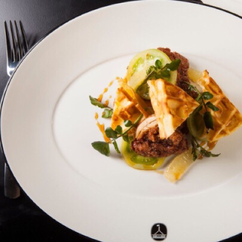 Crisp Buttermilk Chicken and Waffles from the Capitol Bar and Grill in the QT Canberra
