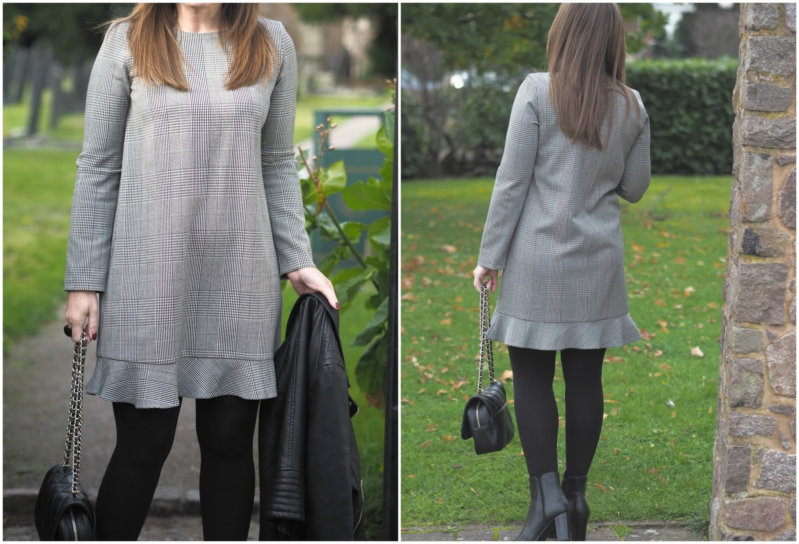 Zara long sleeve Prince of Wales check dress \ Priceless Life of Mine \ Over 40 lifestyle blog
