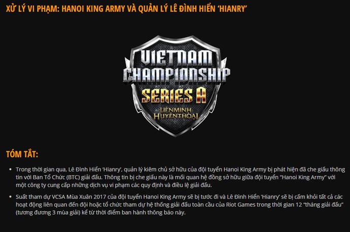 Trong team Hanoi King Army đã có 'nội gián' khiến đội tuyển bị cấm khỏi VCSA