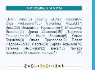 Гаджет ТОР комментаторов списком горизонтально