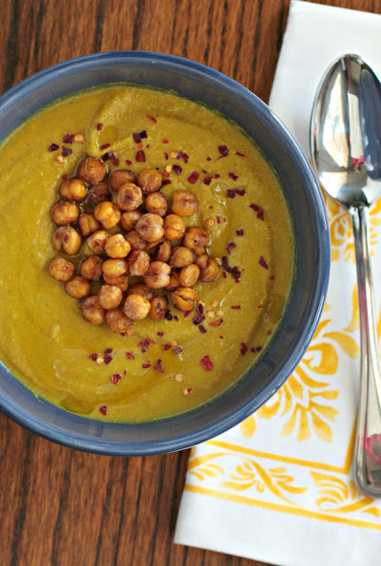 golden soup with crispy chickpeas