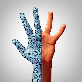 Illustration of a hand, half is human half is machinery/robotic