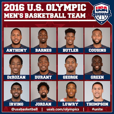 Summer Rio 2016 USA Men's Basketball Team