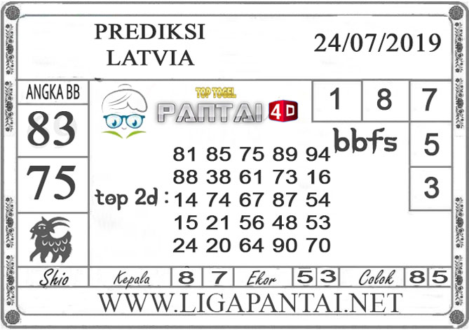 """PREDIKSI TOGEL """"LATVIA"""" PANTAI4D 24 JULI 2019"""