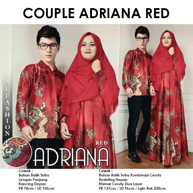 Gamis Couple CP Adriana Red Batik Sutra Original By Al Fashion - pusat  groir online baju gamis couple sarimbit murah batik solo batik pekalongan  by butik ... ee4f70026c