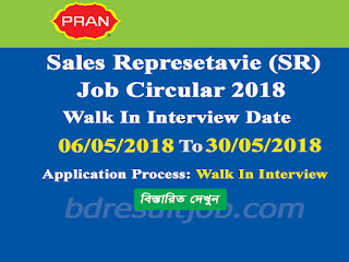 PRAN-RFL Group Sales Representative (SR) Job Circular 2018