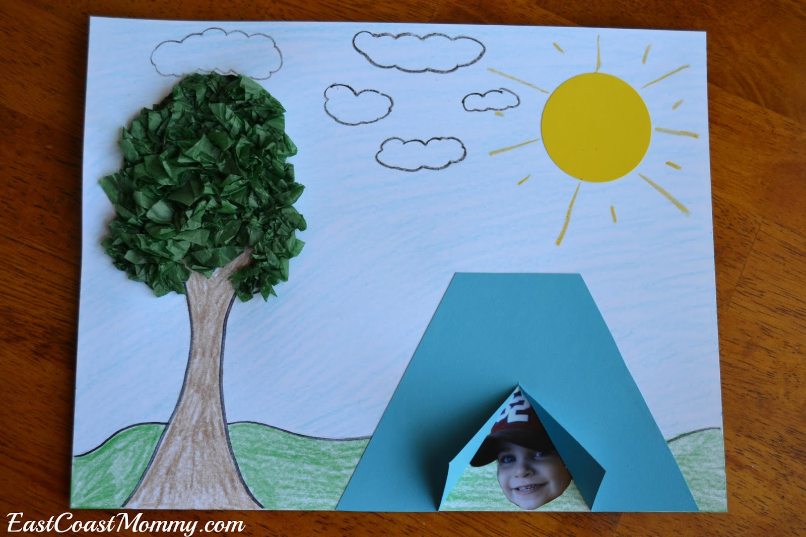 2) Glue a picture of a child inside the tent. 3) Draw a tree and create leaves by gluing on crumpled 1-inch tissue paper squares. & East Coast Mommy: Camping Crafts and Activities