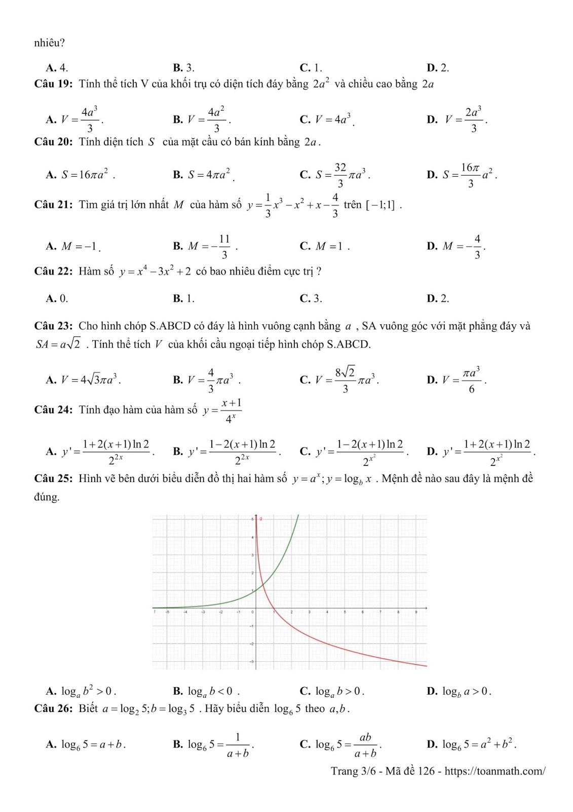 Đề thi thử môn toán lần 1 trường THPT chuyên Long An