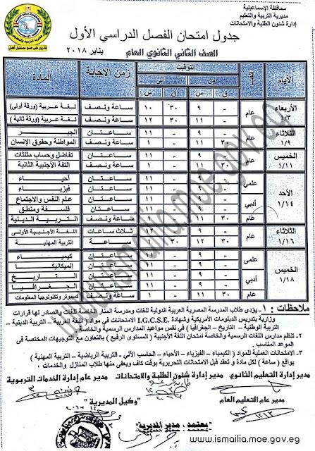 جداول امتحانات النصف الاول من العام الدراسي 2018 بمحافظة الاسماعيليه