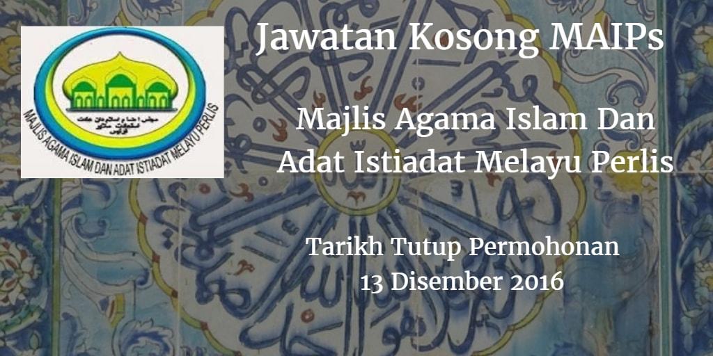 Jawatan Kosong MAIPs 13 Disember 2016