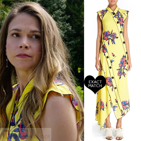 ac589ecd02cb Sutton Foster in yellow floral print silk dress proenza schouler worn on Younger  season 4 celebrity