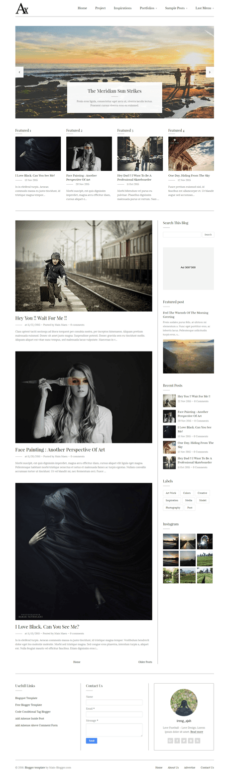 responsive blogger template with slider