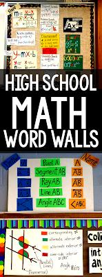 math word walls for high school Algebra, Geometry, Algebra 2 with middle school math word wall ideas