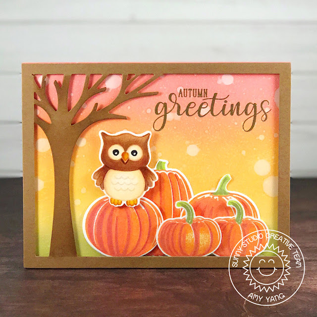 Sunny Studio Stamps: Pretty Pumpkins & Autumn Greetings Pumpkin Card by Amy Yang