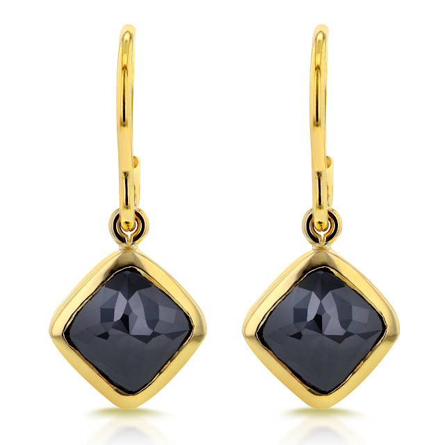 Cushion Black Diamond Earrings 2 7/8 CTW in 14k Yellow Gold