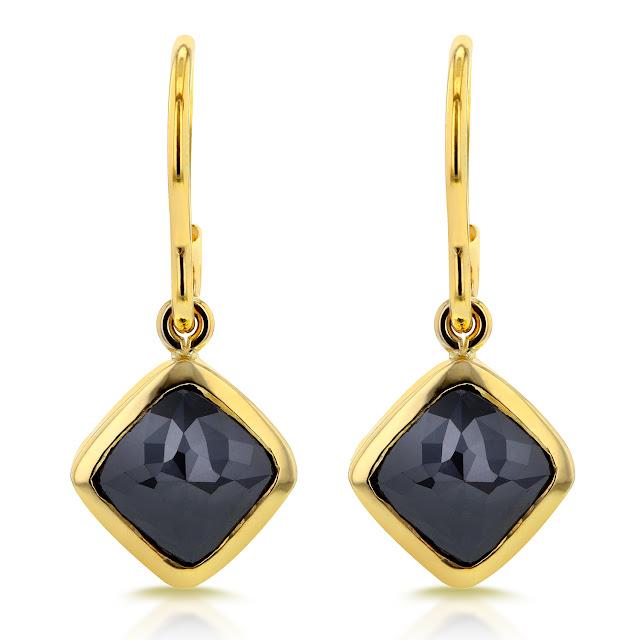 Cushion Black Diamond Earrings 2 7/8 CTW in 14k Yellow Gold