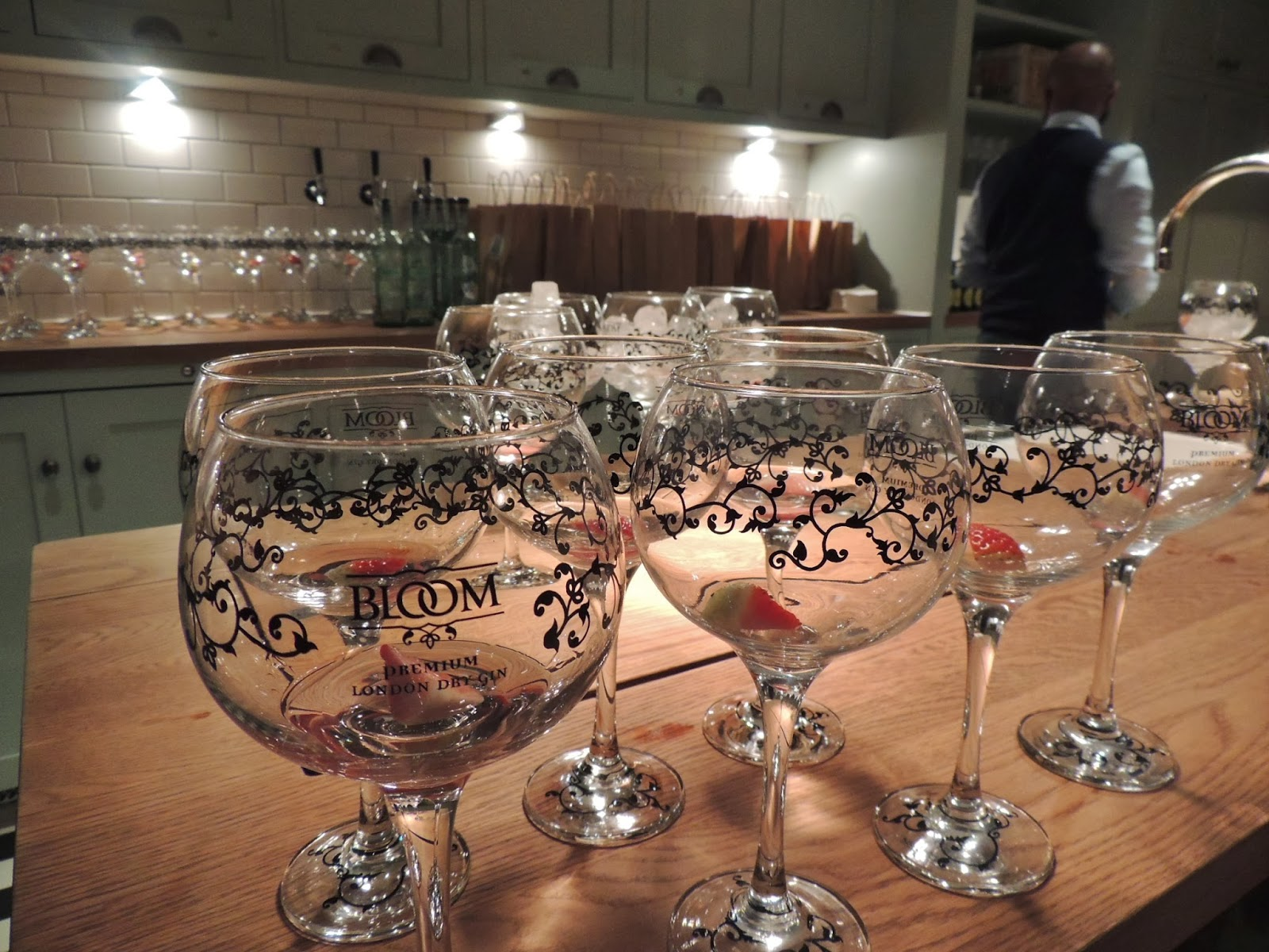 Bloom cocktail glasses at the Hoxton Hotel