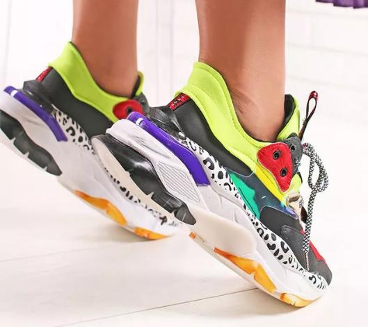 Sneakers dama Multicolor moderni cu talpa groasa foarte ieftini