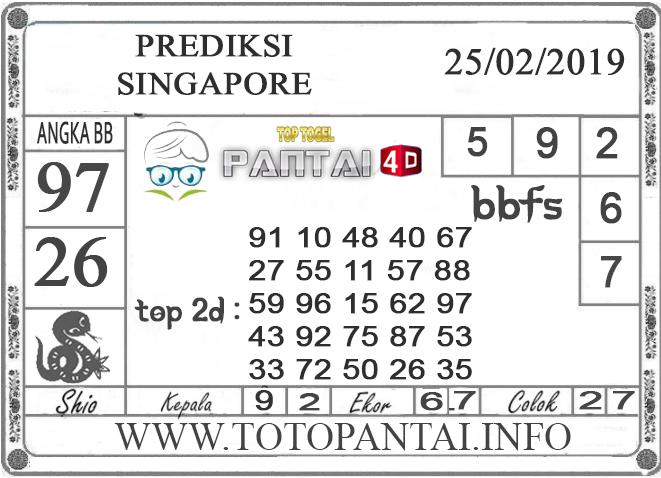 """Prediksi Togel """"SINGAPORE"""" PANTAI4D 25 FEBRUARI 2019"""