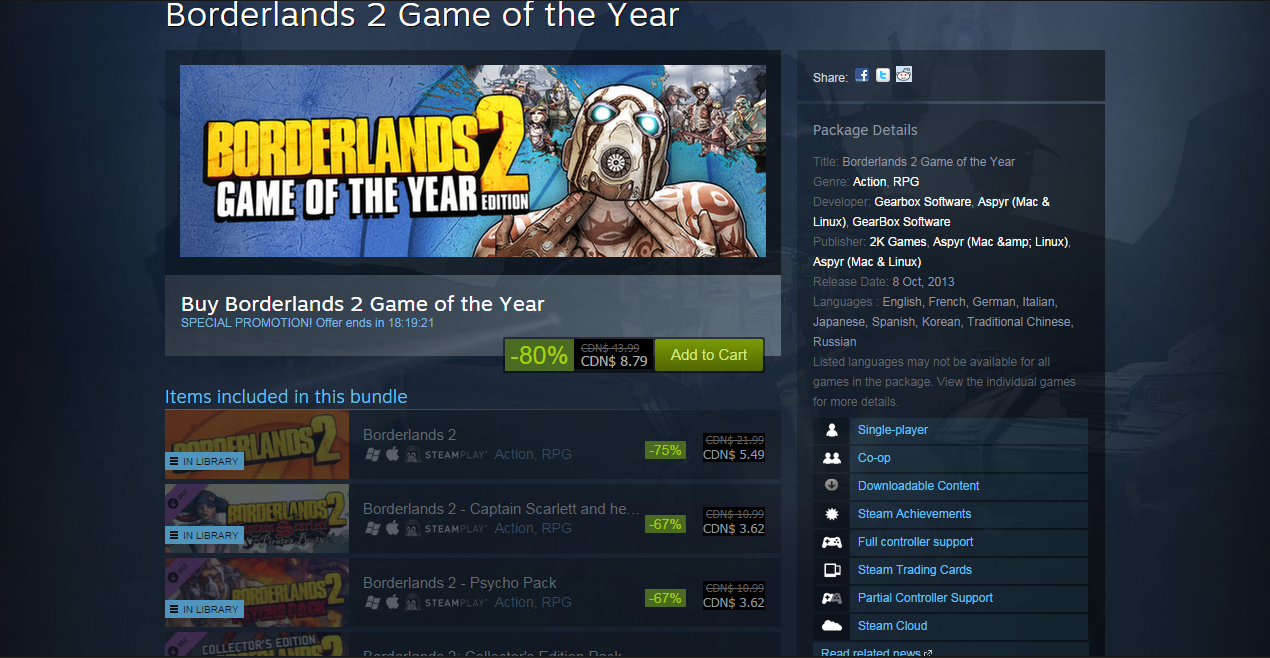 Just bought Borderlands 2 GOTY edition on Steam for 80% off