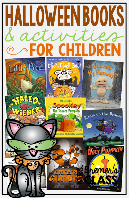 12 favorite Halloween books for kids, with companion activities and book studies for each one, including Little Boo, Click Clack Boo, Where's My Mummy?, The Hallo-Wiener, Spookley, Room on the Broom, Creepy Carrots, The Little Old Lady Who Was Not Afraid of Anything, and The Ugly Pumpkin, and more!