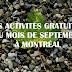 Les activités gratuites à faire en septembre à Montréal
