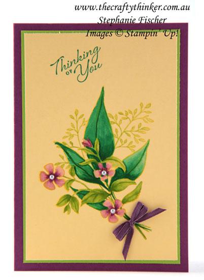 #thecraftythinker  #stampinup  #cardmaking  #rubberstamping  #wonderfulromance #occasionscatalogue2019 , Wonderful Romance, Watercolouring on Coloured Cardstock, Occasions Catalogue 2019, Stampin' Up Demonstrator, Stephanie Fischer, Sydney NSW