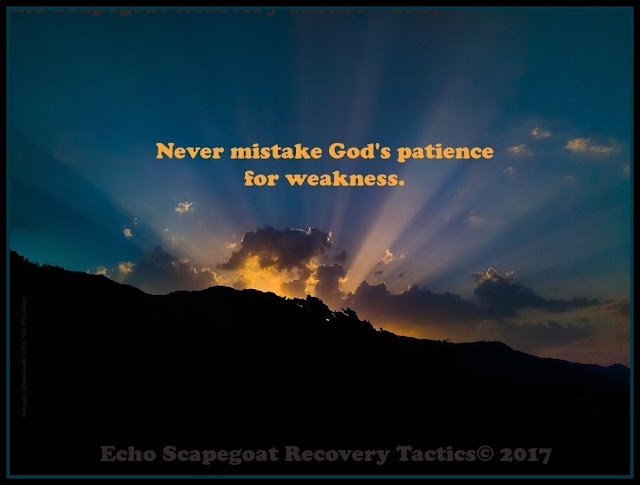 """Never mistake God's parience for weakness. Kelly """"KC3Lady"""" Christensen Quote on Echo Scapegoat Recovery Tactics"""
