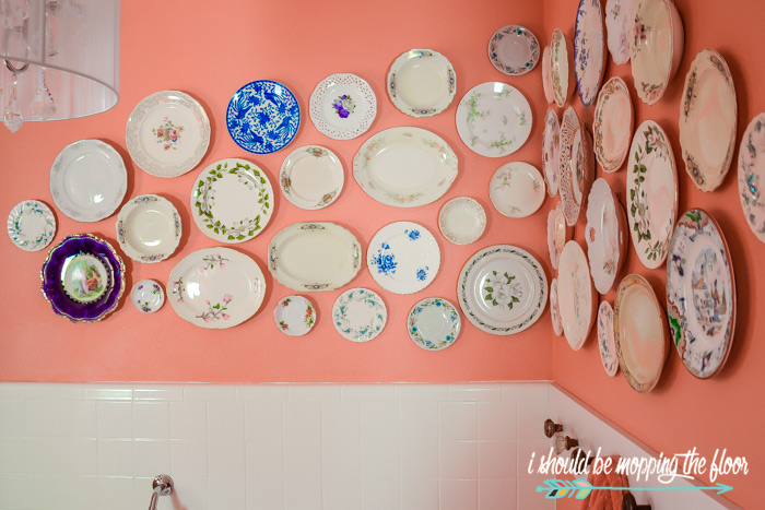 Plates in a Bathroom
