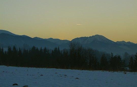 Zachód słońca z Bachledzkiego Wierchu.
