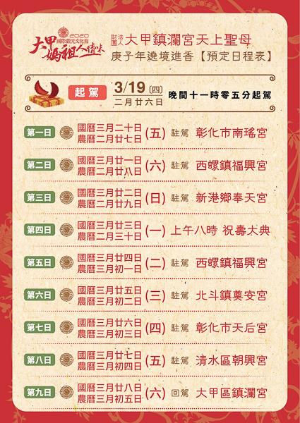 大甲鎮瀾宮媽祖遶境進香日程表