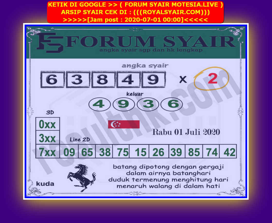 Kode syair Singapore Rabu 1 Juli 2020 223
