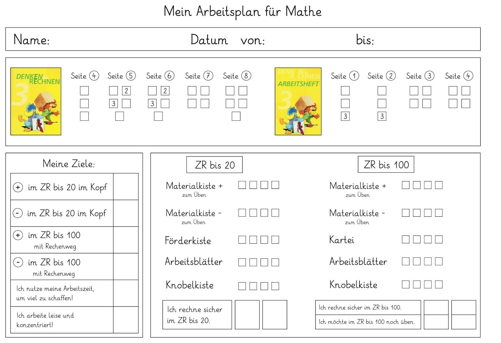 Lernstübchen: mein erster Arbeitsplan in Mathe