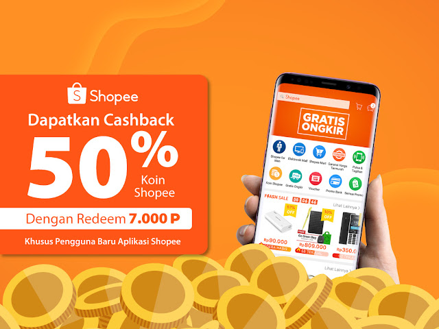 #Shopee - #Promo Special Redemtion Vucher Cashback Shopee 50% (s.d 31 Mei 2019)