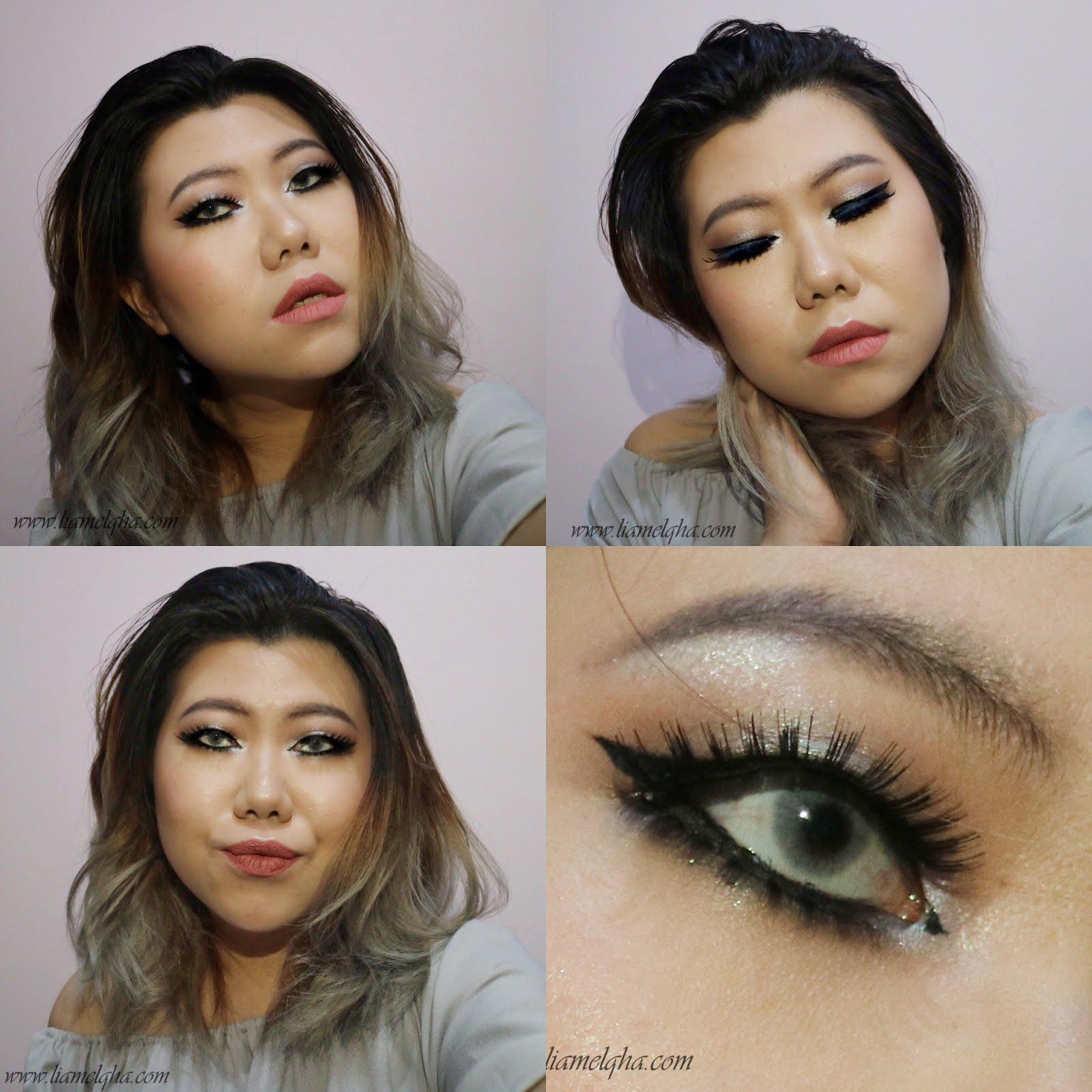 Kedua aku menggunakan riasan mata yang identik dengan dolly look Untuk kelopak mata atas aku menggunakan warna pink dan putih