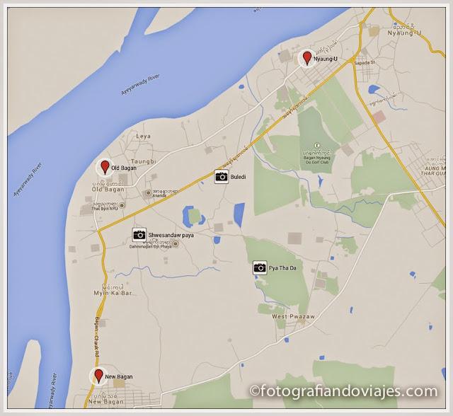 Mapa puntos para ver atardecer y amanecer en Bagan