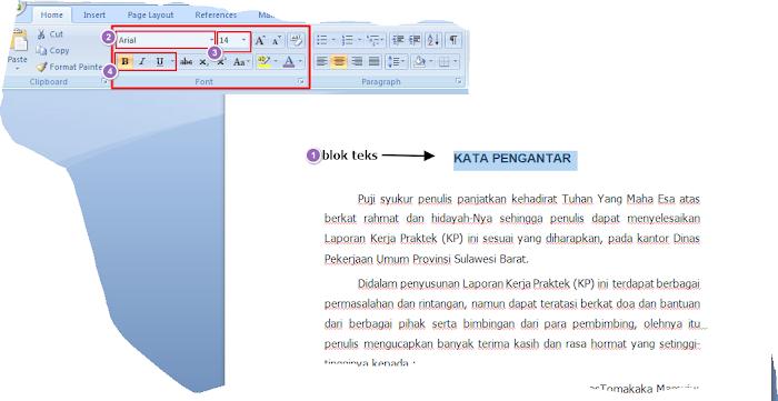 Teknik Mengatur format  huruf/Font di Microsoft Word