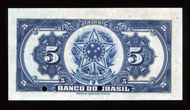 Cédulas Brasileiras cinco Milréis